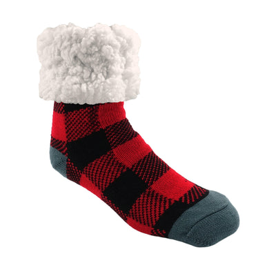 Lumberjack Red Classic Slipper Socks wih Sherpa - My Leisure Lounge