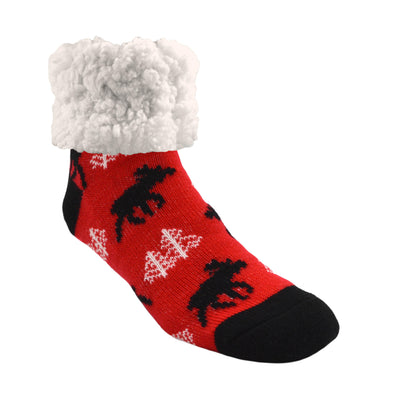 Moose Print Classic Slipper Socks with Sherpa - My Leisure Lounge