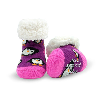 Toddler Slipper Socks with Purple Penguin Print - My Leisure Lounge