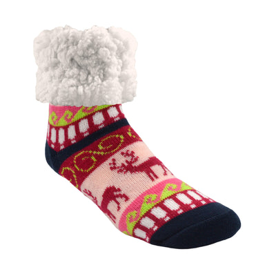 Rasberry Reindeer Print Classic Slipper Socks with Sherpa - My Leisure Lounge