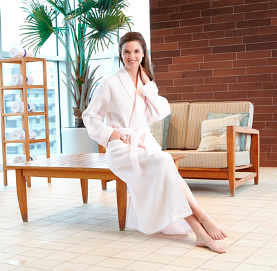 Ladies Waffle Shawl Collar Spa Robe - My Leisure Lounge