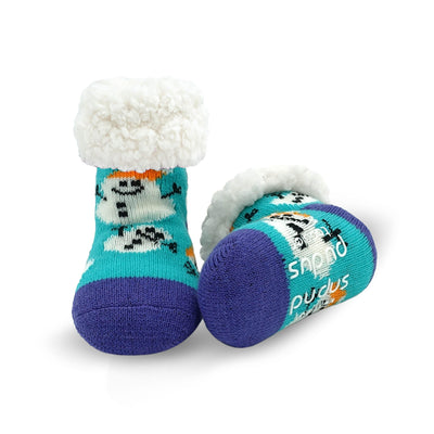 Toddler Slipper Socks with Snowman Print - My Leisure Lounge