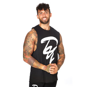 Athletic Cut Off Tank Top - BLACK 02