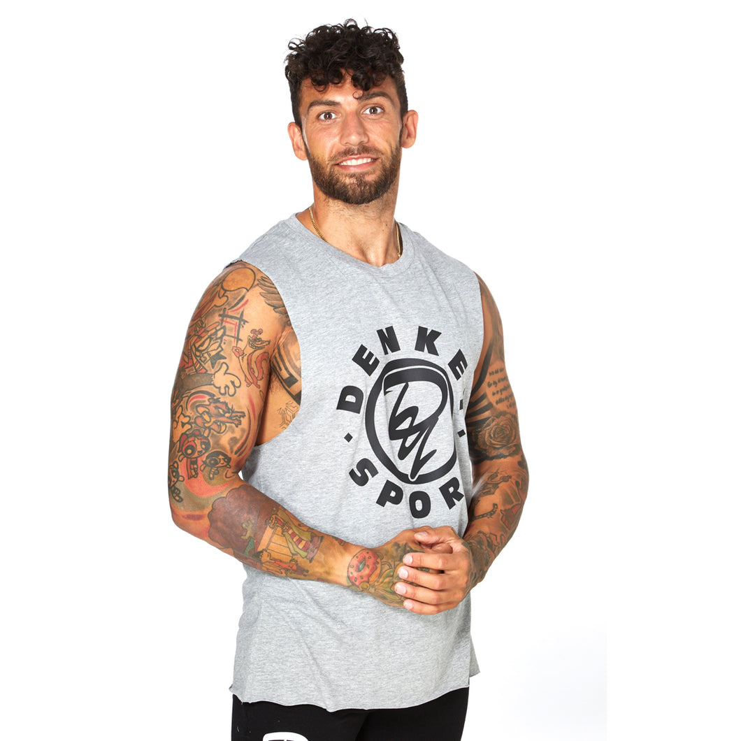 Athletic Cut Off Tank Top - GREY 01
