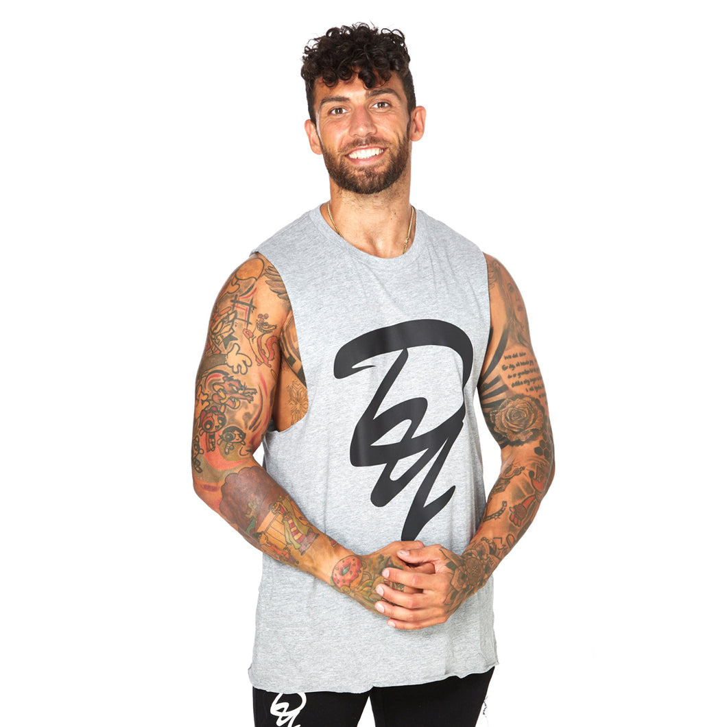 Athletic Cut Off Tank Top - GREY 02