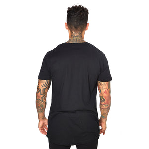 Shaped Long Tee - BLACK ON BLACK 01