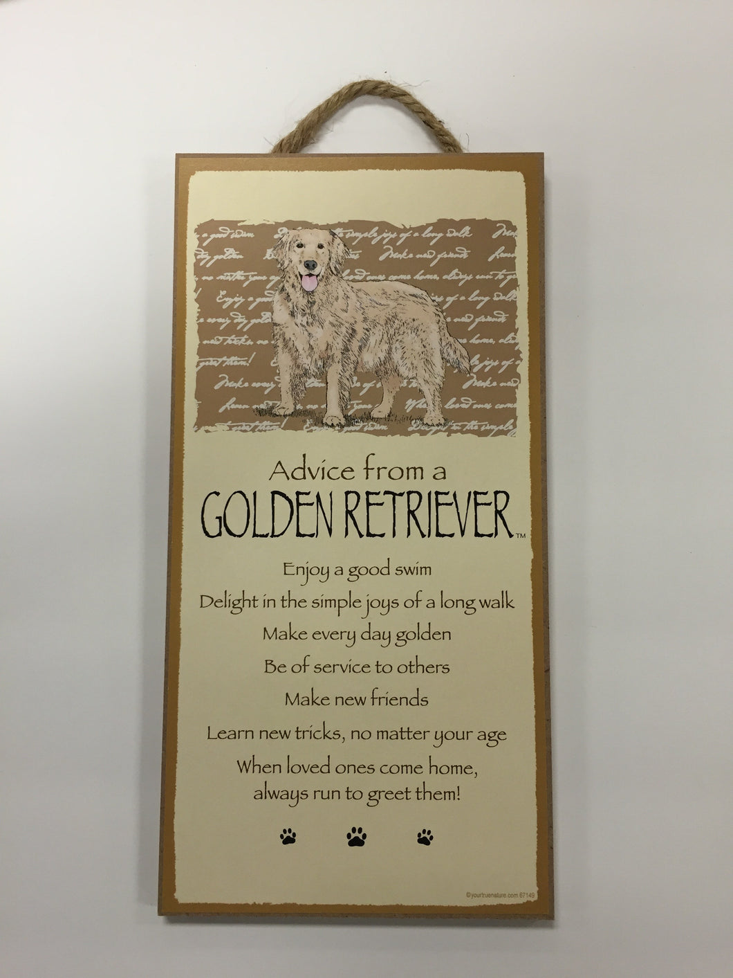 Advice from a Golden Retriever Sign