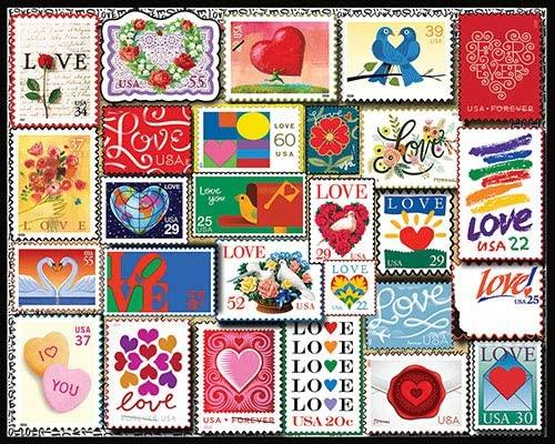 Love Stamps 1000 pc puzzle by White Mountain