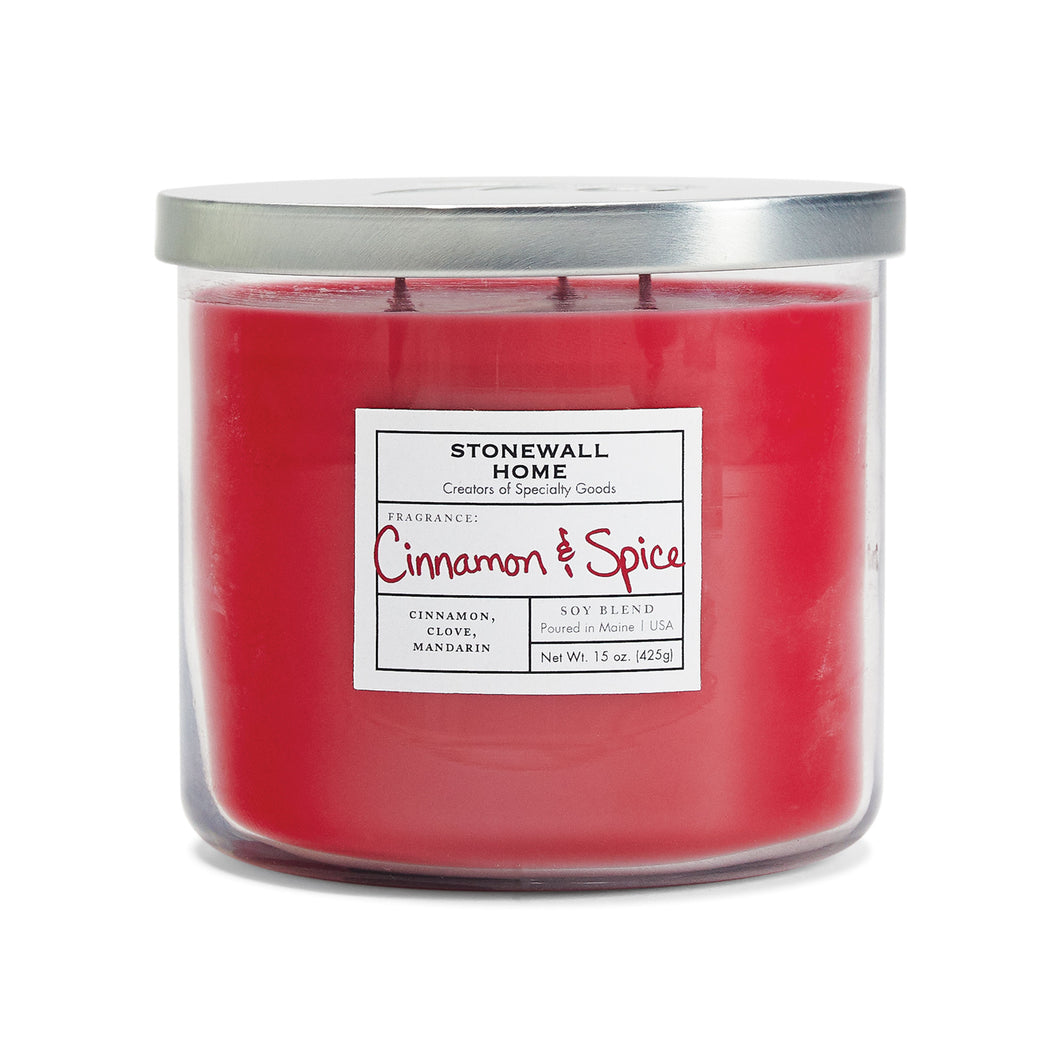 Stonewall Home Cinnamon & Spice Candle 15 oz 3 Wick Bowl