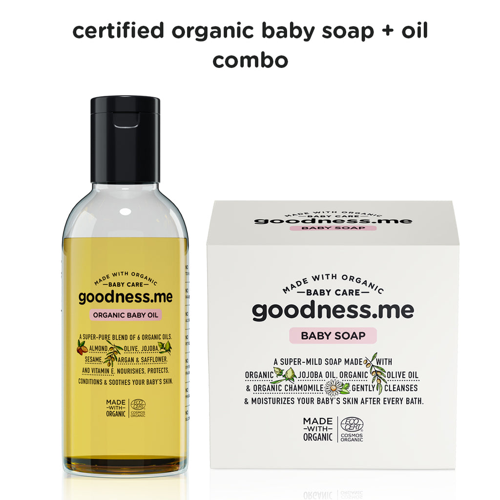 Certified organic baby soap + oil combo - goodnessme.com