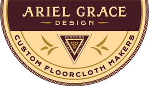 Logo for Ariel Grace Design, Custom Floorcloth Makers.  Our floorlcoths combine beauty, craft and function.