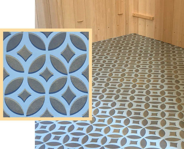 Both and in-situ and close up shot of an Interlocking Circles floorcloth,  floorcloth, part of our Geometric Collection.