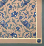 Load image into Gallery viewer, Close up image of floorcloth corner with an all over floral pattern based on a Christopher Dresser pattern.