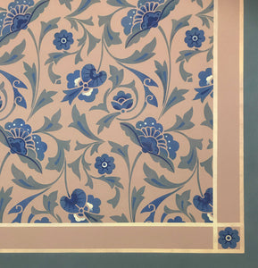 Close up image of floorcloth corner with an all over floral pattern based on a Christopher Dresser pattern.