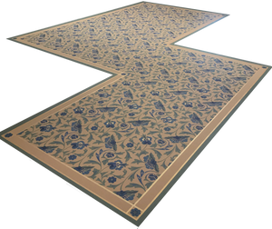 Full image of this shaped floorcloth with an all over floral pattern based on a Christopher Dresser pattern.