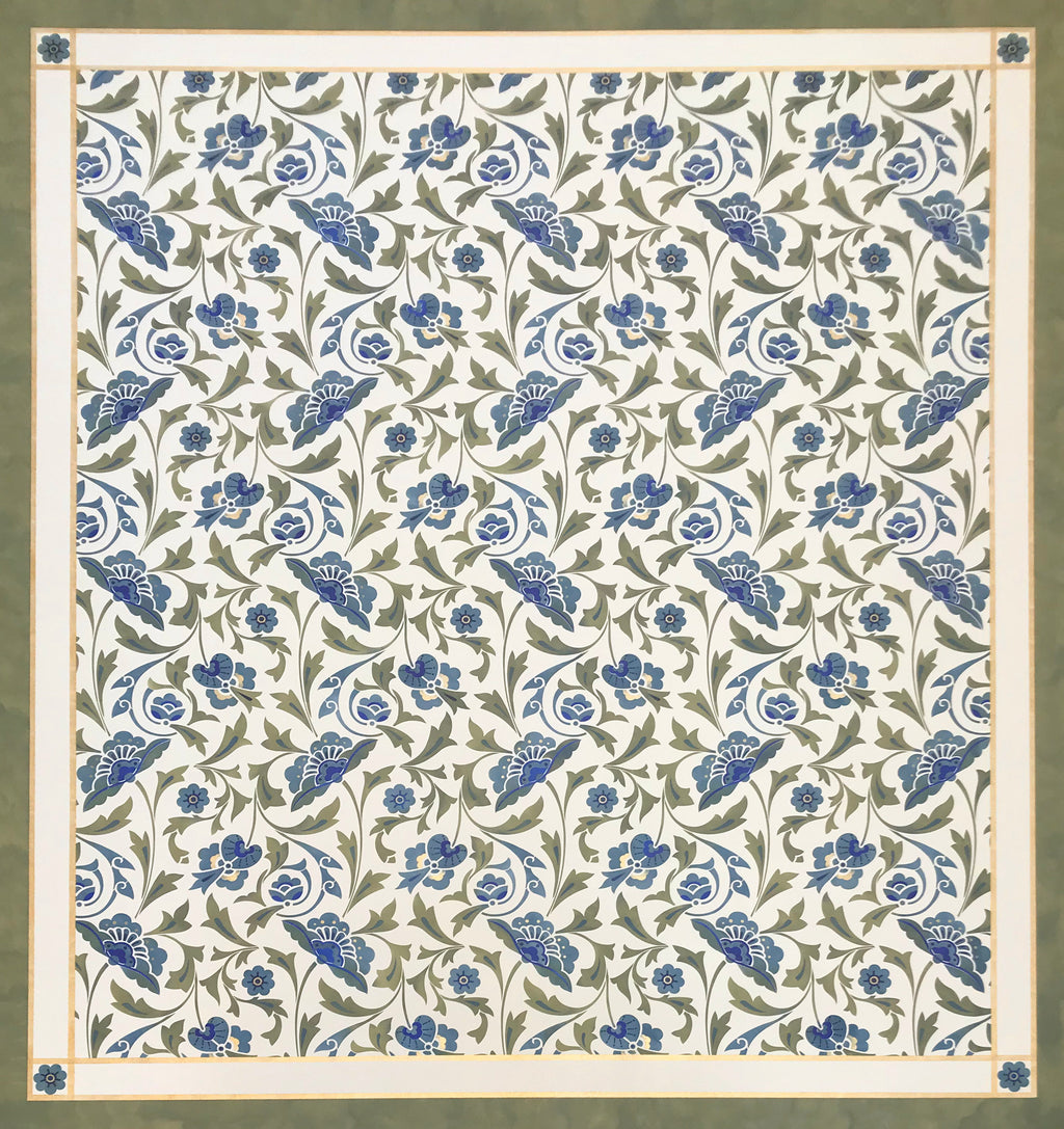 Full image of this floorcloth with an all over floral pattern based on a Christopher Dresser pattern.