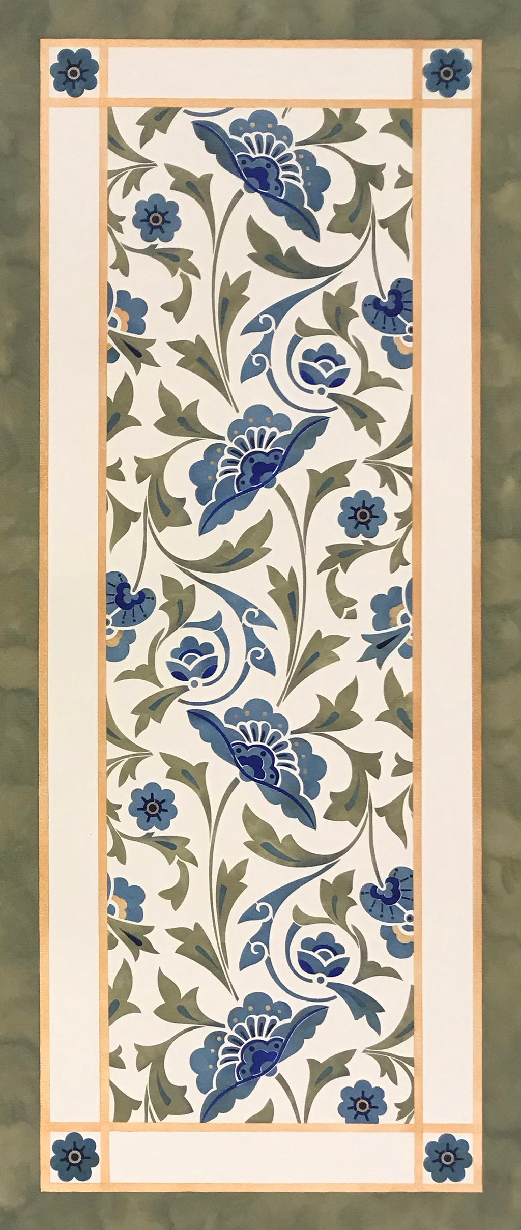 A full image of this floorcloth based on an all-over floral pattern by Christopher Dresser, c. 1875.