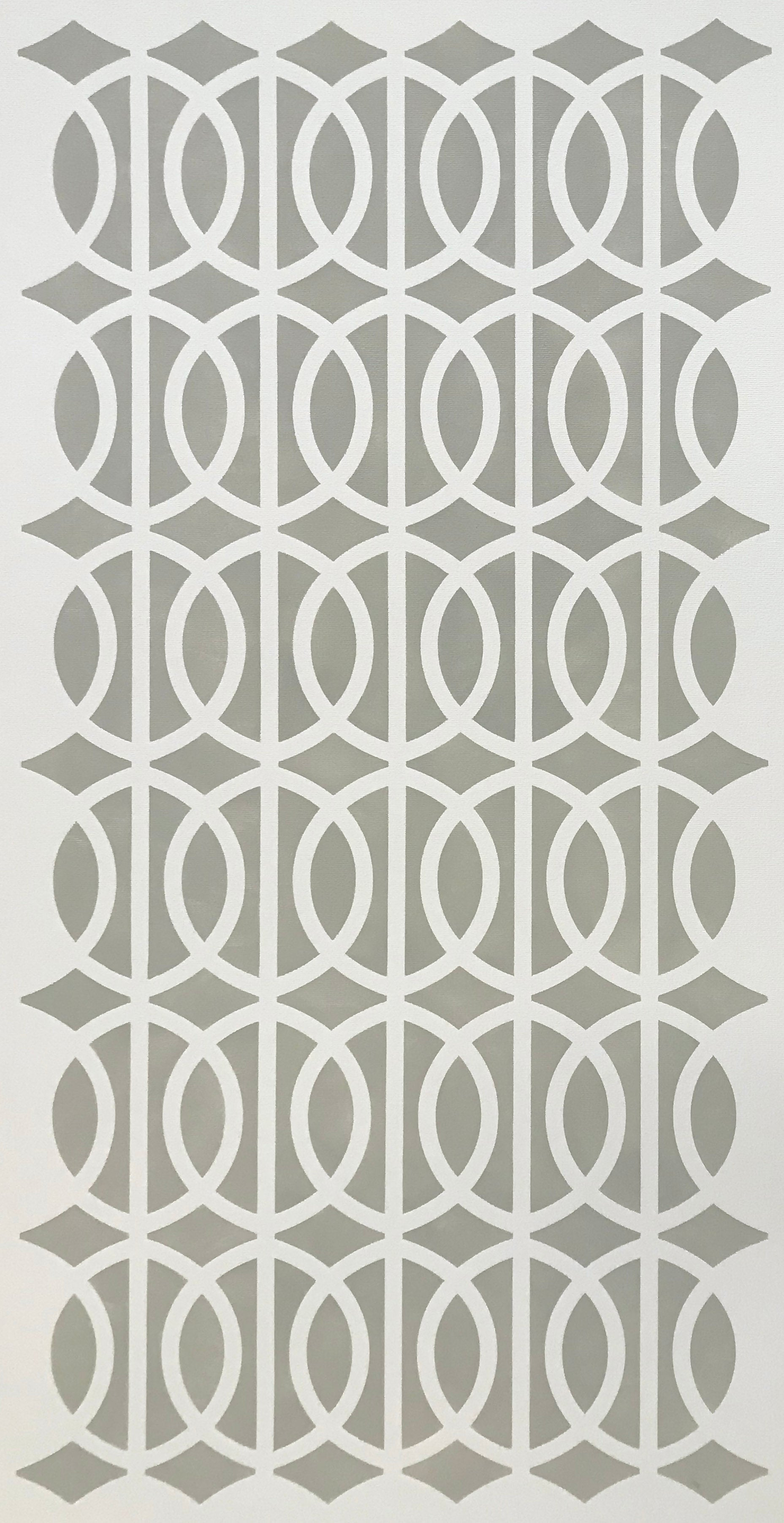 The full image of this simple, elegant floorcloth with its line and circle pattern and linen-like colorway.