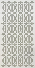 Load image into Gallery viewer, The full image of this simple, elegant floorcloth with its line and circle pattern and linen-like colorway.