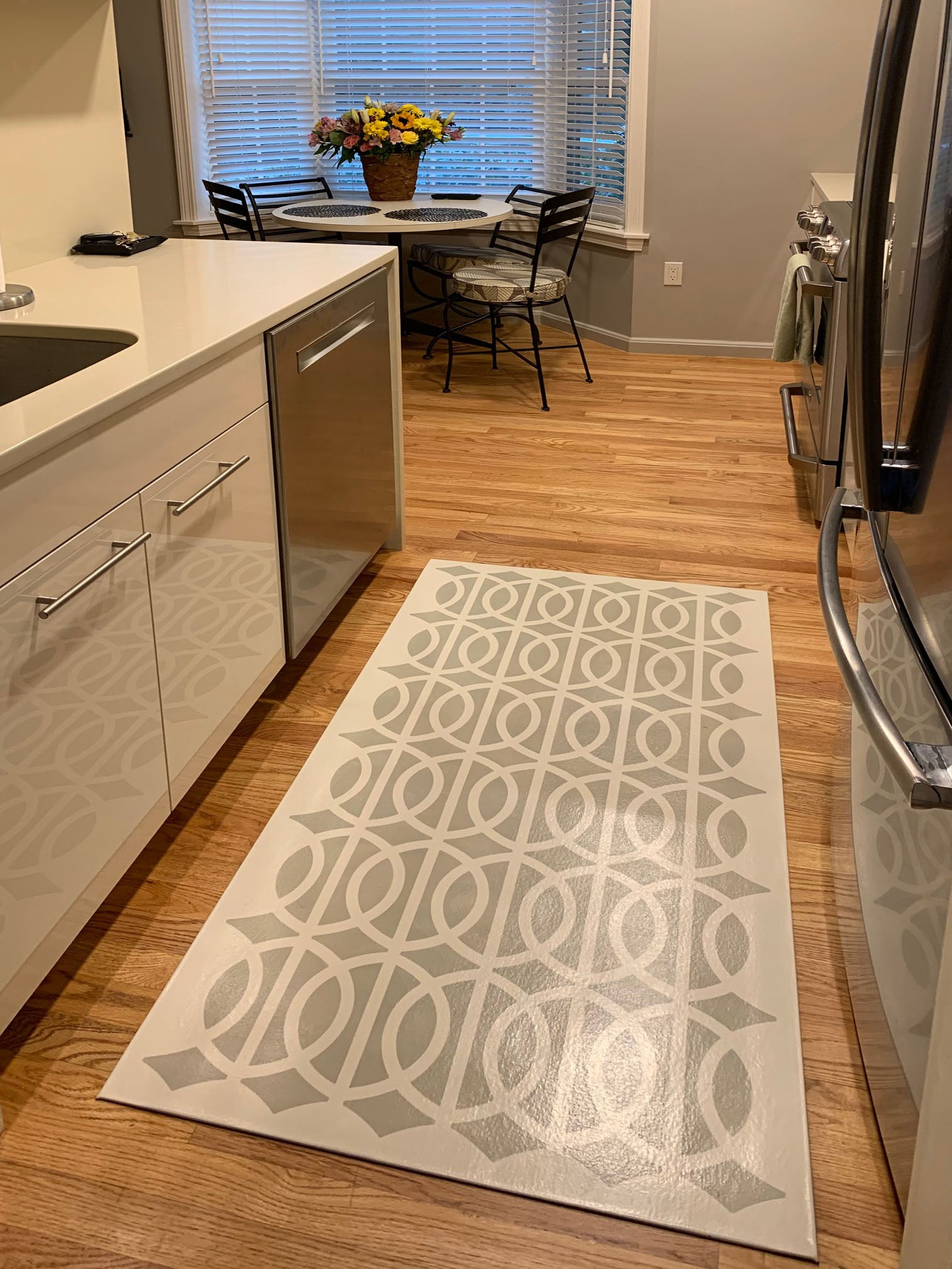 Another in-situ image of the Circle & Line floorcloth.