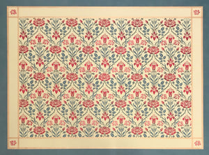This is the full image of this floorcloth with a floral motif with a lattice of roses.