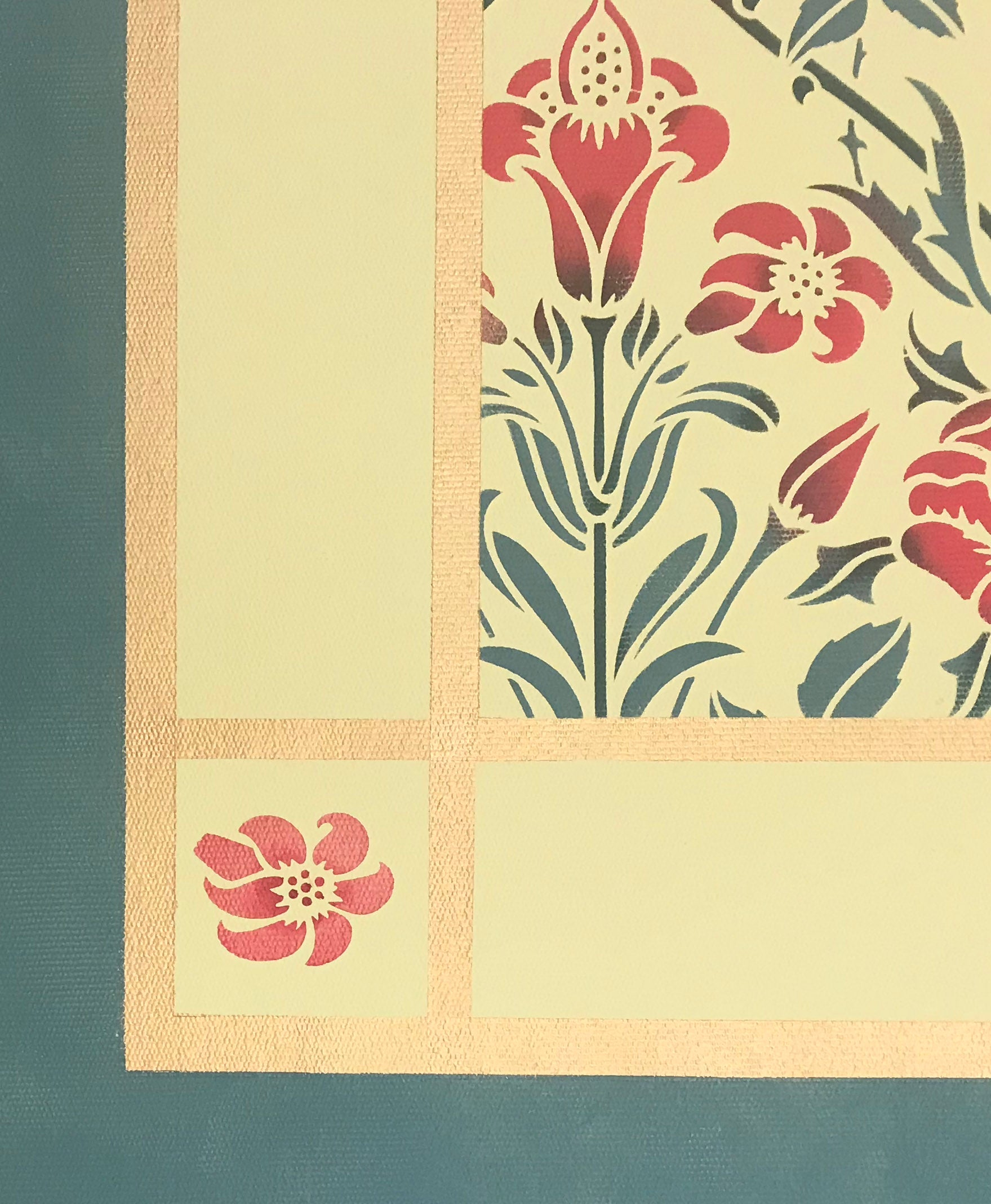 The corner of this floorcloth with a floral motif with a lattice of roses.