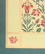 Load image into Gallery viewer, The corner of this floorcloth with a floral motif with a lattice of roses.