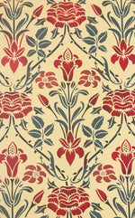 Load image into Gallery viewer, A close up of this floorcloth with a floral motif with a lattice of roses.