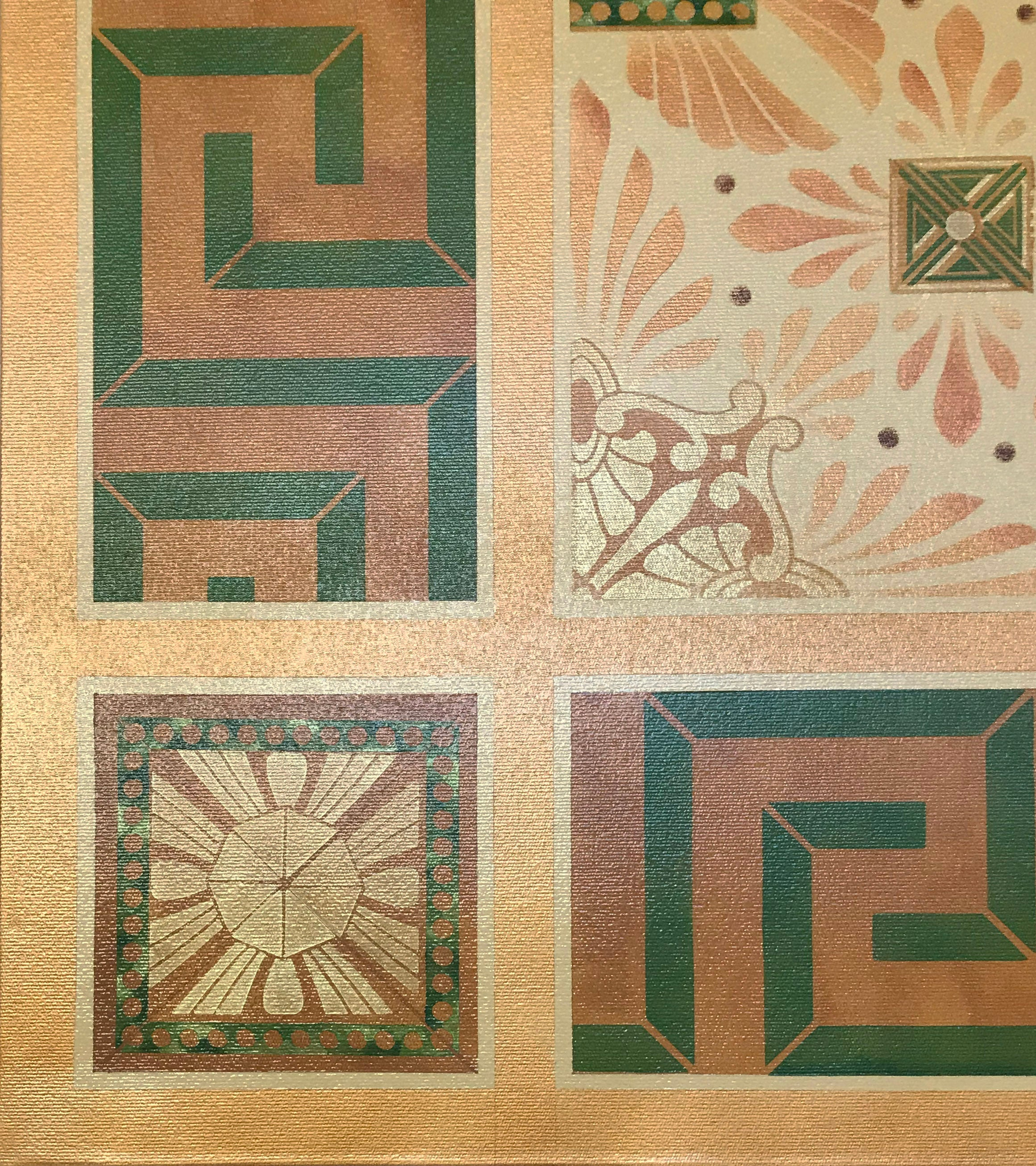 Close up corner image of this floorcloth, based on a design by Christopher Dresser.