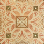 Load image into Gallery viewer, Close up of this floorcloth's deco center motifs, based on a design by Christopher Dresser.