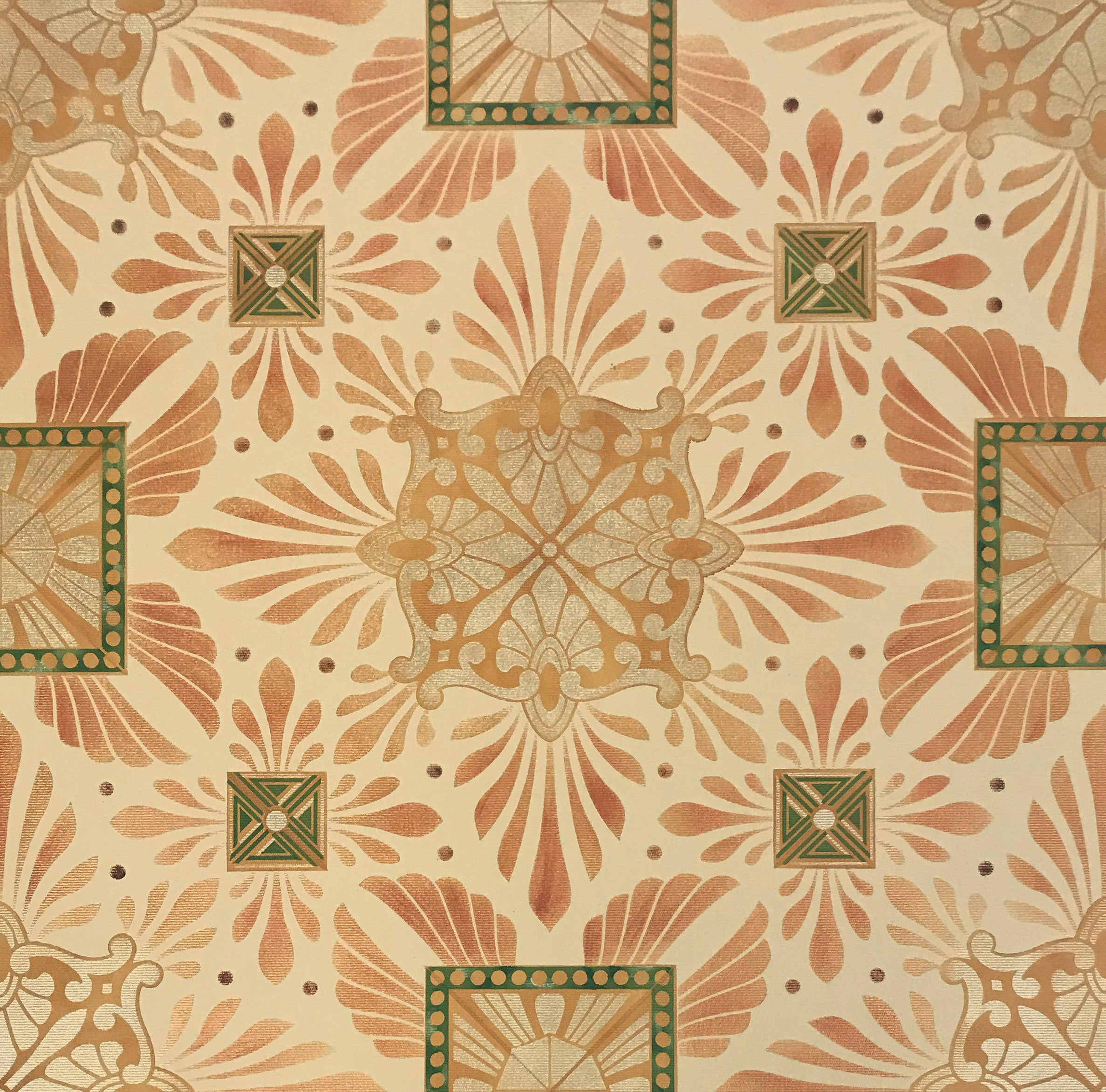 Close up of this floorcloth's deco center motifs, based on a design by Christopher Dresser.