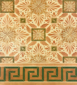 Load image into Gallery viewer, Close up of this floorcloth's deco center motifs, based on a design by Christopher Dresser.  The border employs a Greek Key design.