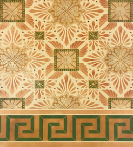 Close up of this floorcloth's deco center motifs, based on a design by Christopher Dresser.  The border employs a Greek Key design.