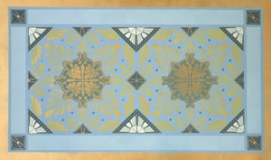 A full image of this floorcloth, based on a Christopher Dresser design with strong deco elements.