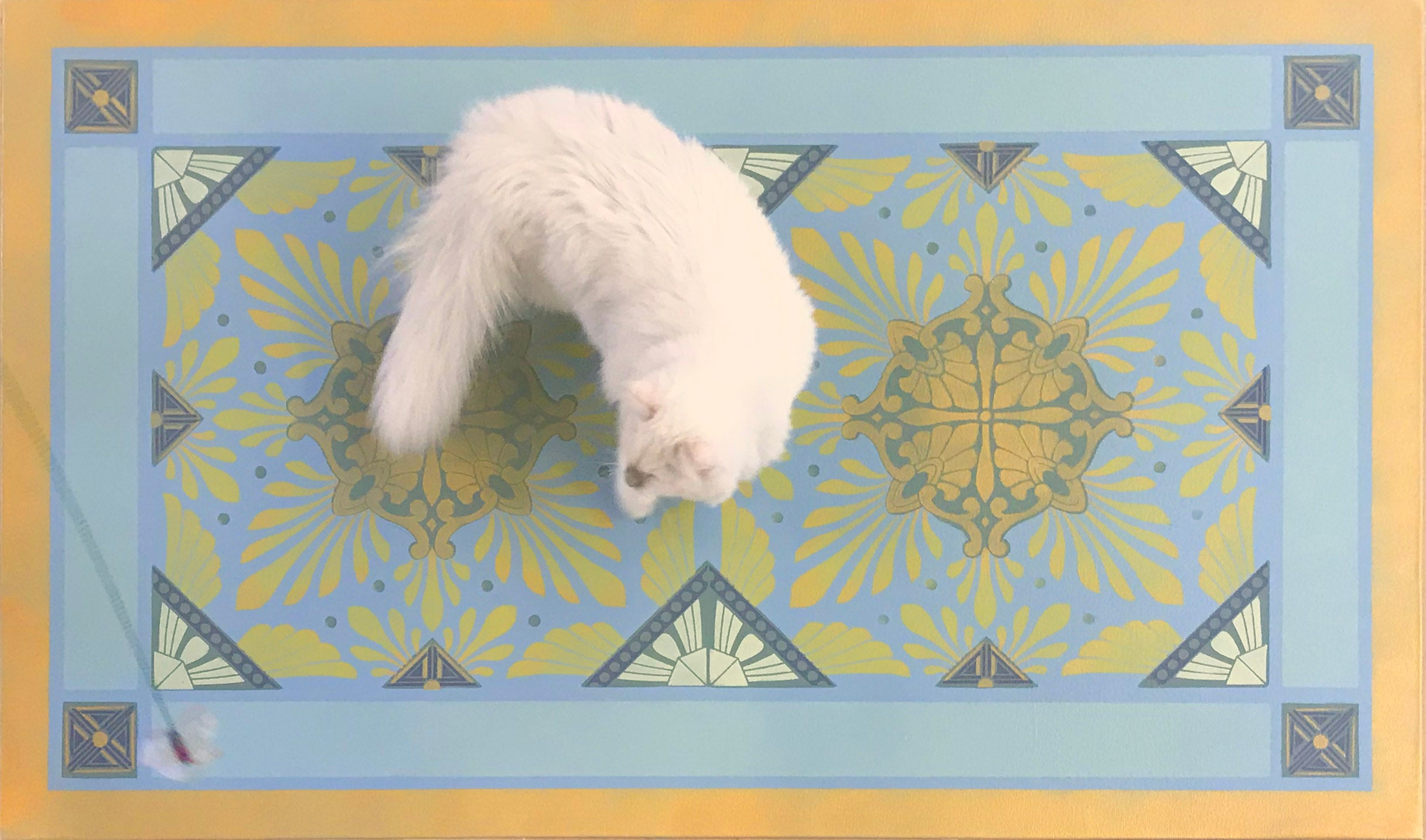 A full image of our Greek Deco Floorcloth #2 with Opal providing scale.