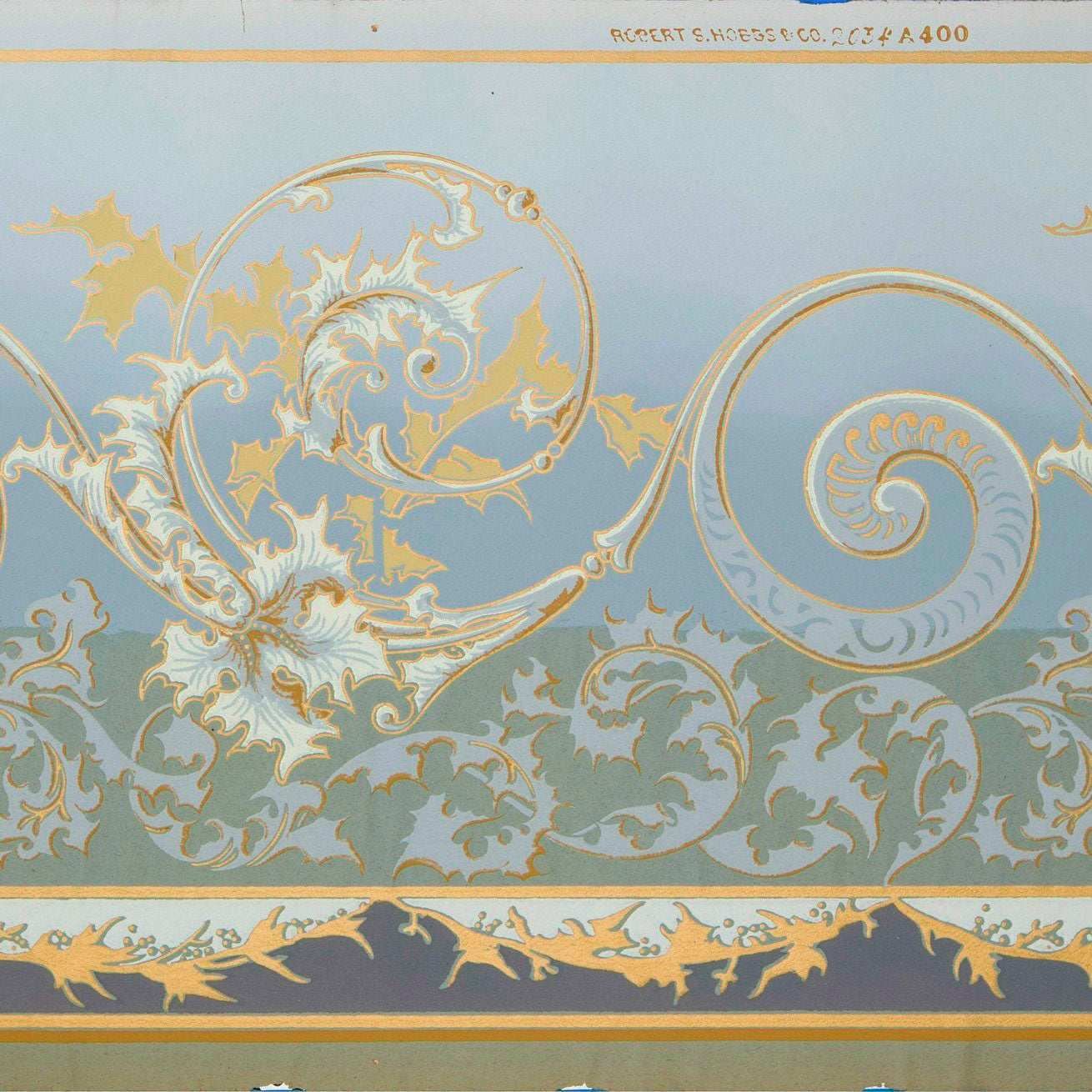 A close up of this fabulous wallpaper, used as palette inspiration for this floorcloth. By Robert S. Hobbs & Co, c.1880.
