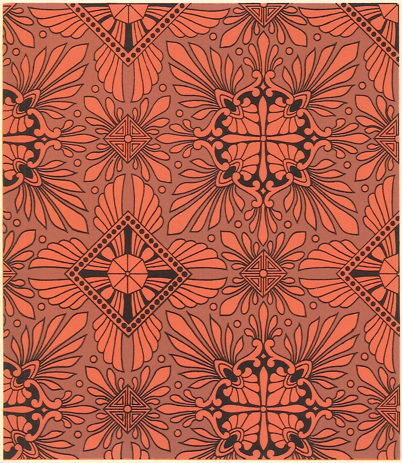 "Source image for this floorcloth's design; based on a pattern in Christopher Dresser's ""Studies in Design"", c. 1875."