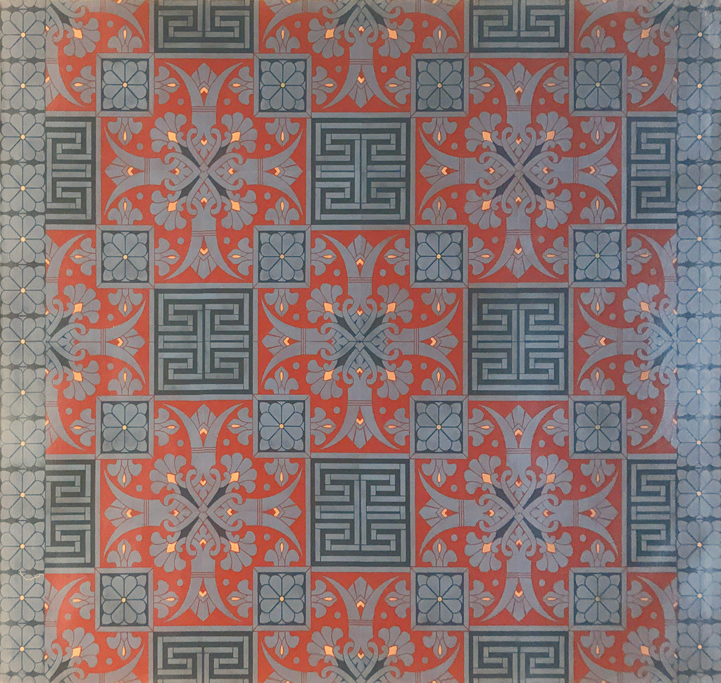 Full image of this floorcloth with an Greek Key design based on a Christopher Dresser pattern.