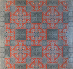 Load image into Gallery viewer, Full image of this floorcloth with an Greek Key design based on a Christopher Dresser pattern.