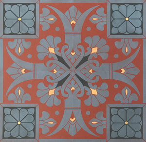 Close up of elements of this floorcloth including charming fleur de lis and floral motifs.
