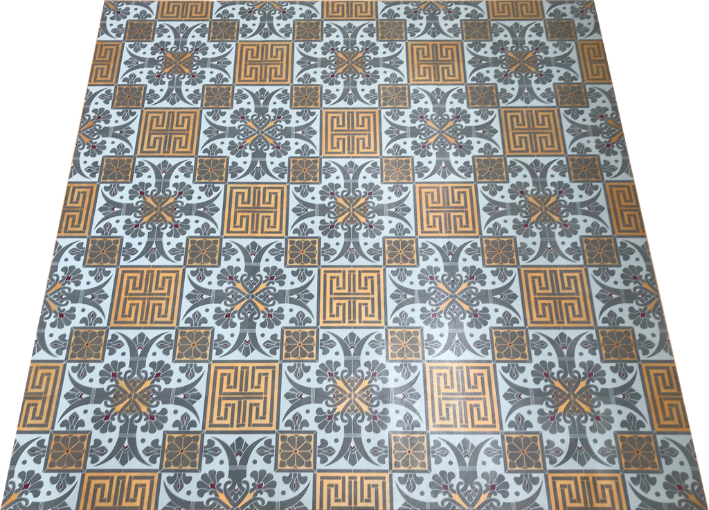 Full image of this floorcloth with a Greek Key design based on a Christopher Dresser pattern.