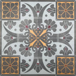 Load image into Gallery viewer, Close up of elements of this floorcloth including charming fleur de lis and floral motifs.