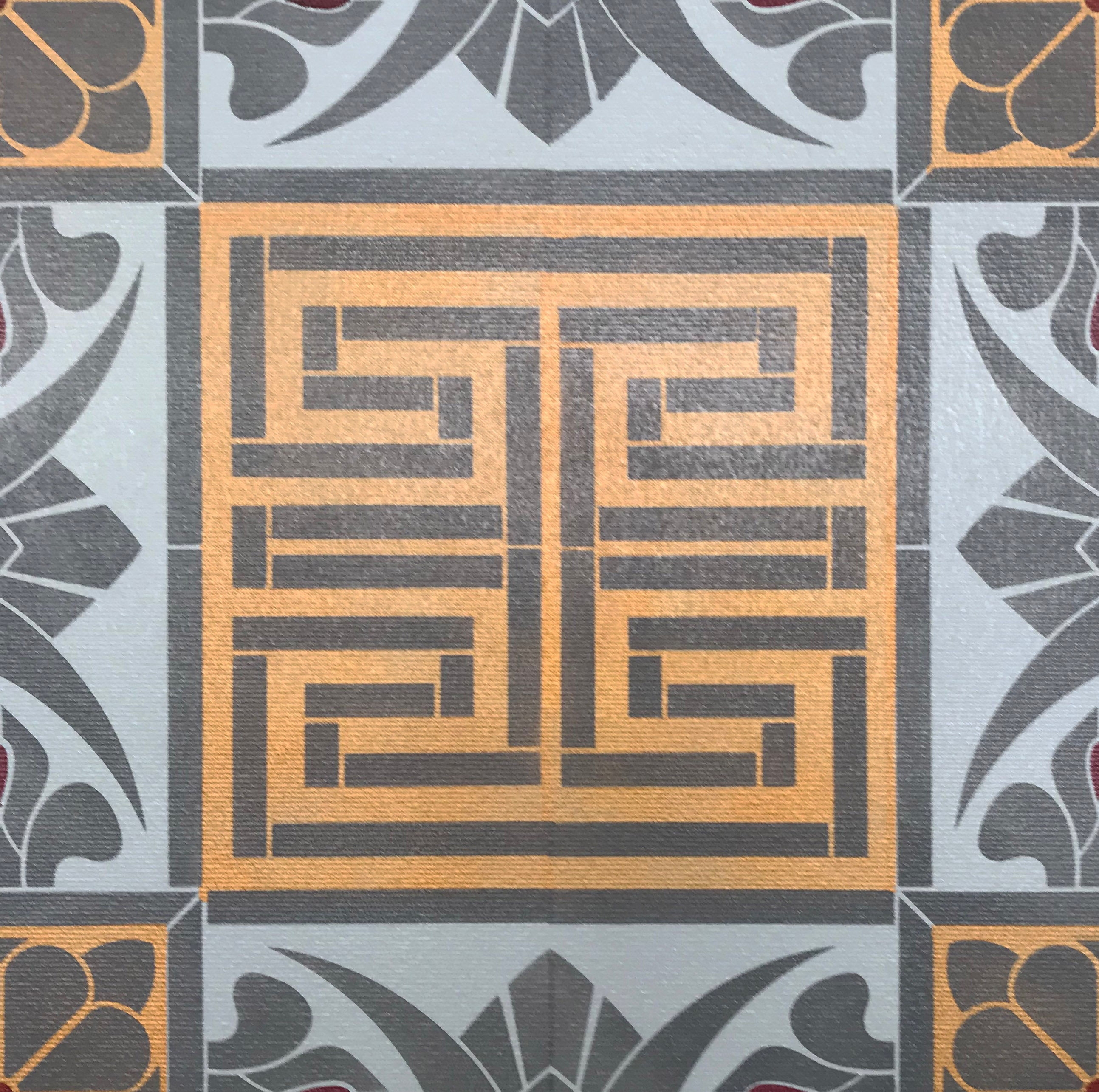 A close up of the Greek Key motif in this floorcloth.