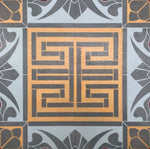 Load image into Gallery viewer, A close up of the Greek Key motif in this floorcloth.