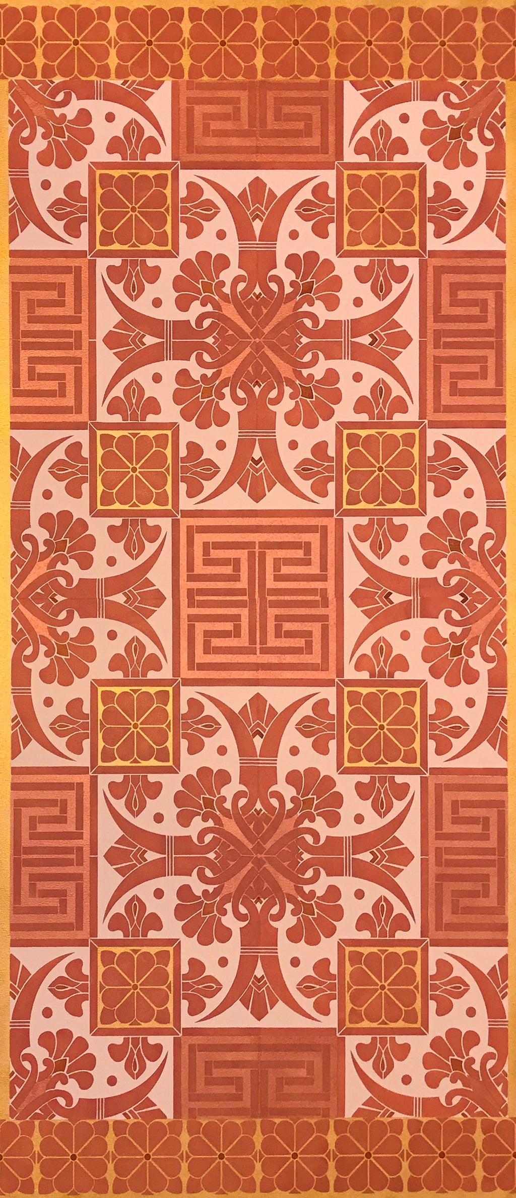 Full image of this floorcloth based on a Christopher Dresser pattern in pink, copper and gold tones.