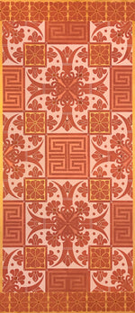 Load image into Gallery viewer, Full image of this floorcloth based on a Christopher Dresser pattern in pink, copper and gold tones.