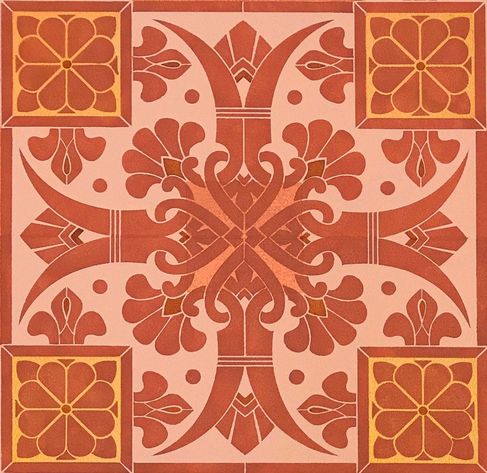 A close-up image of the stylized fleur de lis elements of this floorcloth pattern.