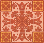 Load image into Gallery viewer, A close-up image of the stylized fleur de lis elements of this floorcloth pattern.