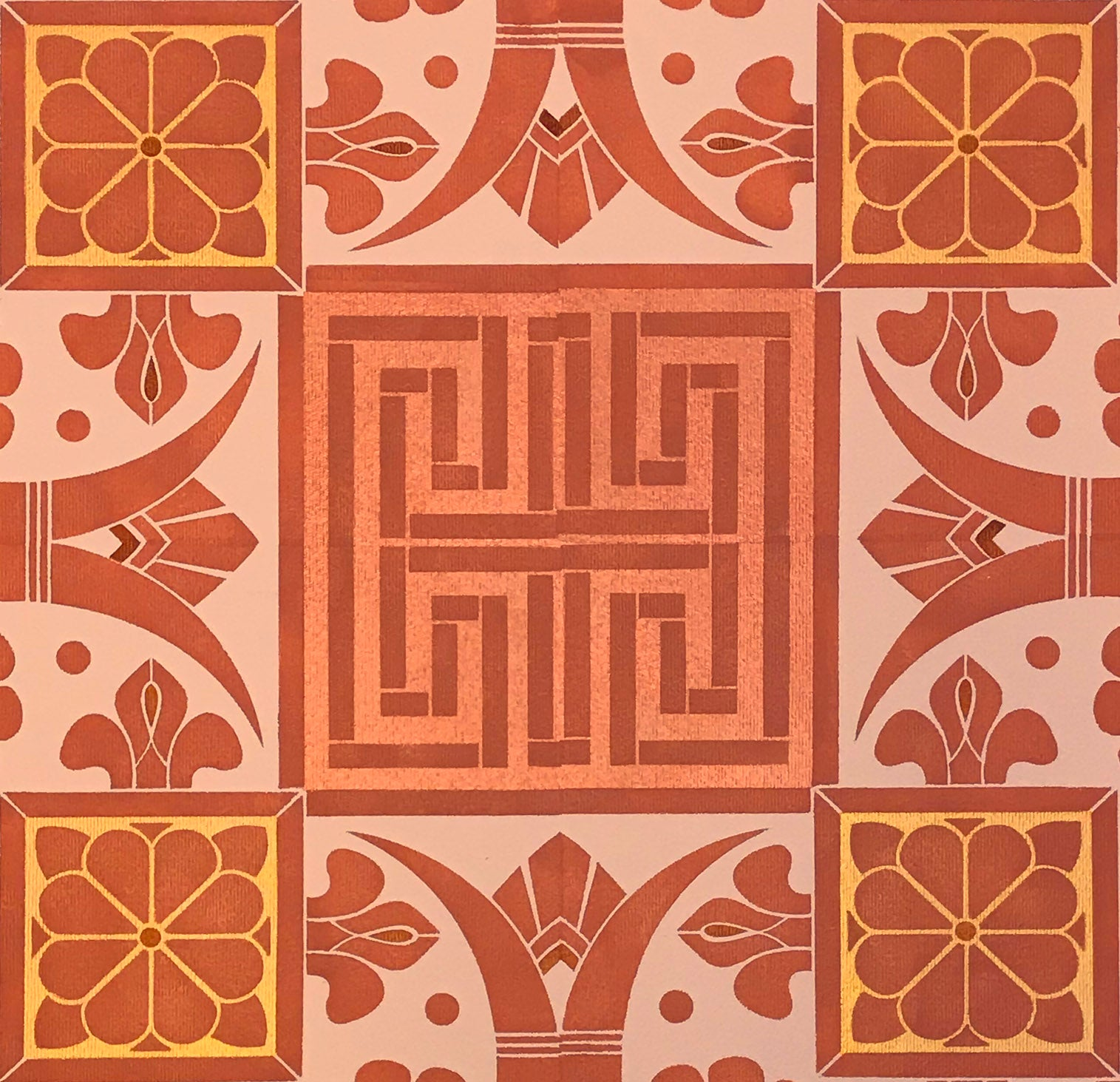 A close up of this floorcloth, showing the greek key element.