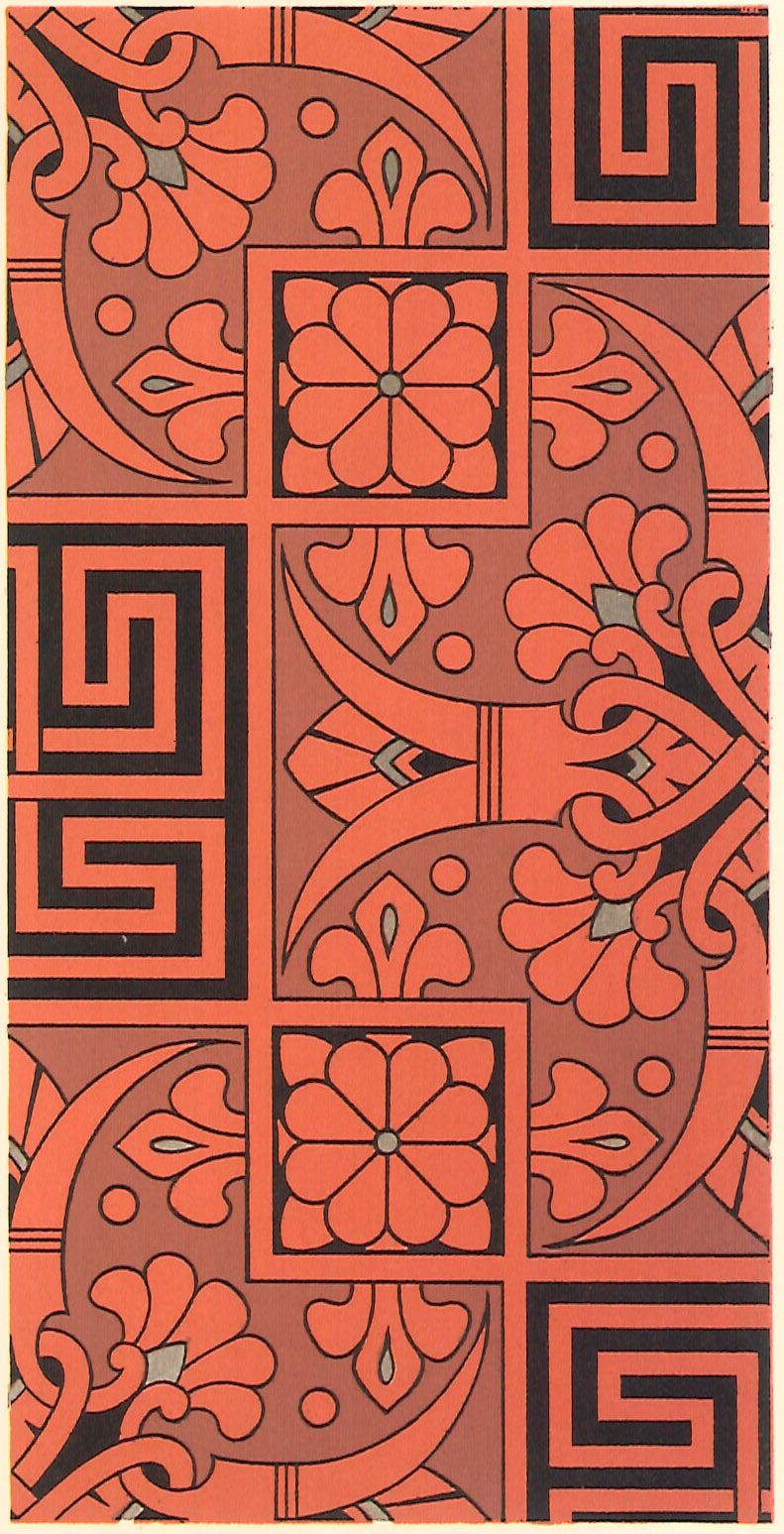 "Source image for this floorcloth from Christopher Dresser's ""Studies in Design"" c. 1875."